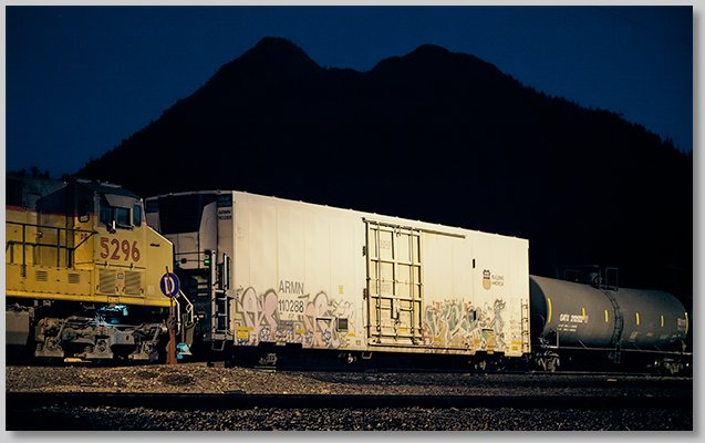 freight cars at night at Black Butte