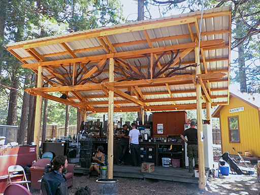 After Getting The Basic Framing Done In May, We Added The Metal Roof Onto  Our Outdoor Kitchen During Railroad Days.